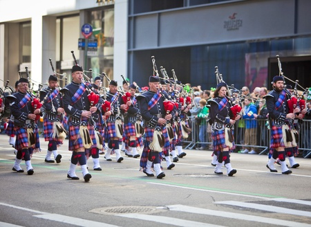 NEW YORK, NY, USA MAR 17: Bagpipers at the St. Patrick's Day Parade on March 17, 2012 in New York City, United States.