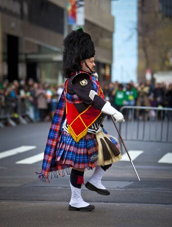NEW YORK, NY, USA MAR 17: Band leader of bagpipers at the St. Patrick's Day Parade on March 17, 2012 in New York City, United States.