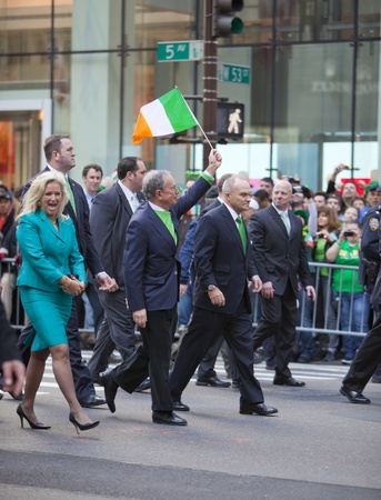 NEW YORK, NY, USA MAR 17: New York Mayor Bloomberg and Police Commissioner Ray Kelly at the St. Patricks Day Parade on March 17, 2012 in New York City, United States.