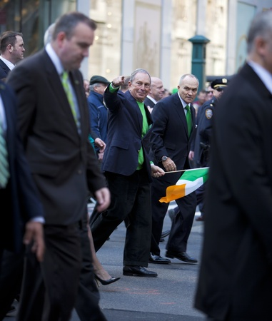 paddys: NEW YORK, NY, USA MAR 17: New York Mayor Bloomberg and Police Commissioner Ray Kelly at the St. Patricks Day Parade on March 17, 2012 in New York City, United States. Editorial