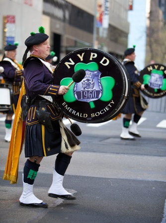 NEW YORK, NY, USA MAR 17: NYPD marching band policemen at the St. Patricks Day Parade on March 17, 2012 in New York City, United States.