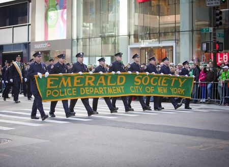 NEW YORK, NY, USA MAR 17: NYPD policemen from the Emerald Society at the St. Patrick's Day Parade on March 17, 2012 in New York City, United States. Stock Photo - 13062637