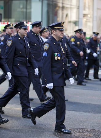 NEW YORK, NY, USA MAR 17: NYPD policemen at the St. Patricks Day Parade on March 17, 2012 in New York City, United States. Editorial