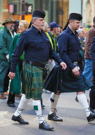 NEW YORK, NY, USA MAR 17:  Men in kilts at the St. Patricks Day Parade on March 17, 2012 in New York City, United States.