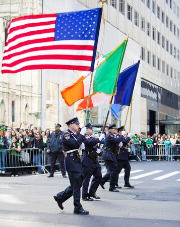 NEW YORK, NY, USA MAR 17: Auxillary NYPD policemen from the Emerald Society at the St. Patricks Day Parade on March 17, 2012 in New York City, United States.