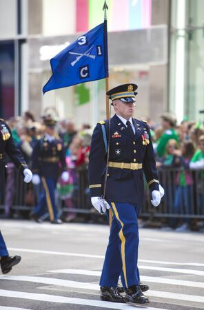 NEW YORK, NY, USA MAR 17: Marching US miltary soldiers of the 3rd Infantry Division at the St. Patricks Day Parade on March 17, 2012 in New York City, United States.