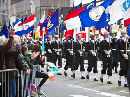NEW YORK, NY, USA MAR 17: Unites States Navy Sailors at the St. Patricks Day Parade on March 17, 2012 in New York City, United States.
