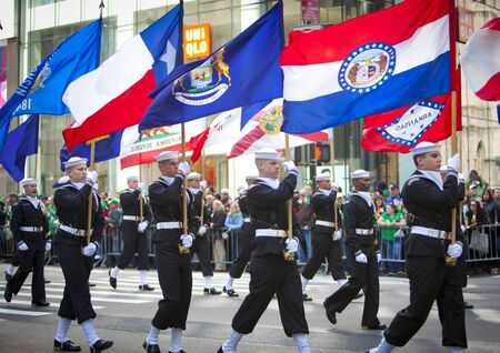 NEW YORK, NY, USA MAR 17: Unites States Navy Sailors at the St. Patrick's Day Parade on March 17, 2012 in New York City, United States.