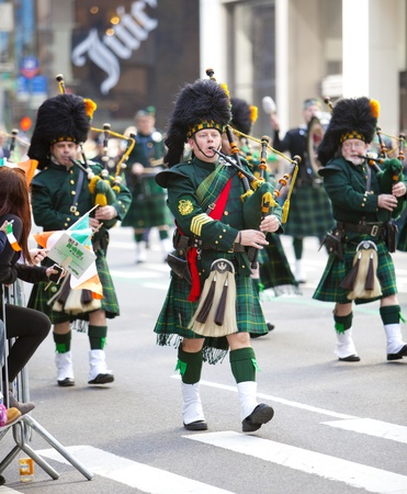NEW YORK, NY, USA MAR 17: Bagpipers at the St. Patrick's Day Parade on March 17, 2012 in New York City, United States. Editoriali