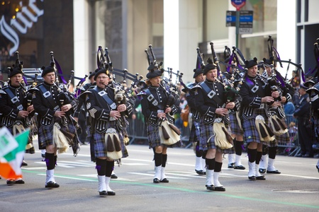 NEW YORK, NY, USA MAR 17: Bagpipers at the St. Patricks Day Parade on March 17, 2012 in New York City, United States. Editorial
