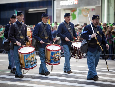 NEW YORK, NY, USA MAR 17: Marching band members of US miltary soldiers in traditional uniform at the St. Patrick's Day Parade on March 17, 2012 in New York City, United States. Stock Photo - 13062632