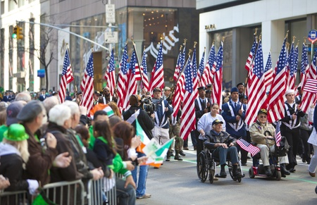NEW YORK, NY, USA MAR 17: Unites States Military veterans at the St. Patricks Day Parade on March 17, 2012 in New York City, United States.