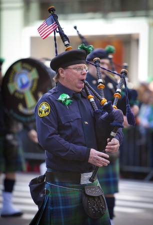 NEW YORK, NY, USA MAR 17: Bagpipers at the St. Patrick's Day Parade on March 17, 2012 in New York City, United States. Stock Photo - 13062612