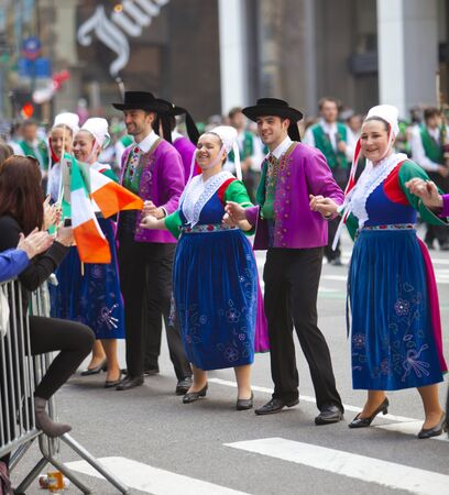 NEW YORK, NY, USA MAR 17:  Dancers in trational Latin costumes at the St. Patrick's Day Parade on March 17, 2012 in New York City, United States.