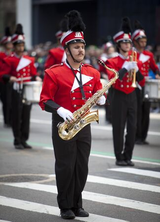 NEW YORK, NY, USA MAR 17:  New York High School marching band at the St. Patrick's Day Parade on March 17, 2012 in New York City, United States. Stock Photo - 13062610