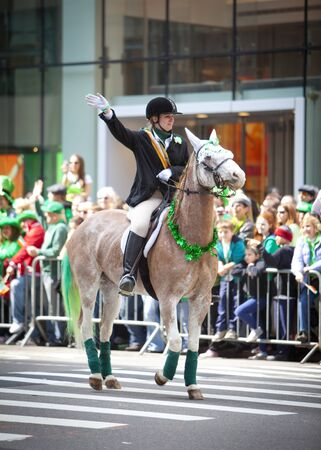 NEW YORK, NY, USA MAR 17: Honorable participant horserider at the St. Patricks Day Parade on March 17, 2012 in New York City, United States.