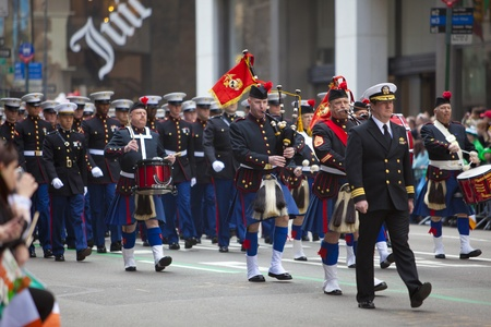 NEW YORK, NY, USA MAR 17:  United States Marine Corps at the St. Patrick's Day Parade on March 17, 2012 in New York City, United States. Stock Photo - 13062656