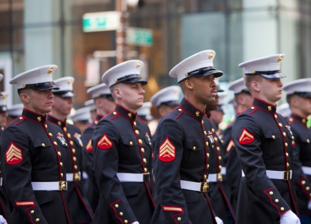 NEW YORK, NY, USA MAR 17:  United States Marine Corps at the St. Patricks Day Parade on March 17, 2012 in New York City, United States.