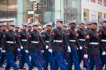 NEW YORK, NY, USA MAR 17:  United States Marine Corps at the St. Patrick's Day Parade on March 17, 2012 in New York City, United States. Stock Photo - 13062666