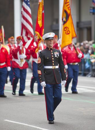 NEW YORK, NY, USA MAR 17:  United States Marine Corps at the St. Patrick's Day Parade on March 17, 2012 in New York City, United States. Stock Photo - 13062598