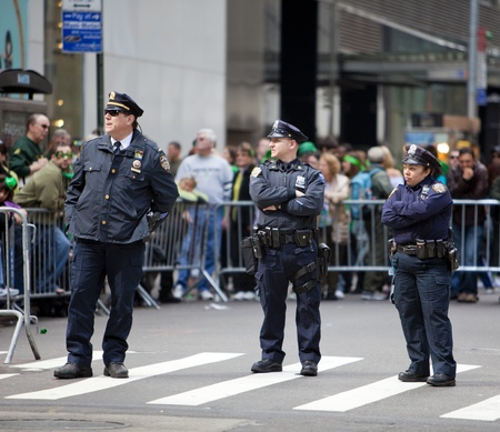 NEW YORK, NY, USA MAR 17: NYPD policemen at the St. Patrick's Day Parade on March 17, 2012 in New York City, United States. Stock Photo - 13062614