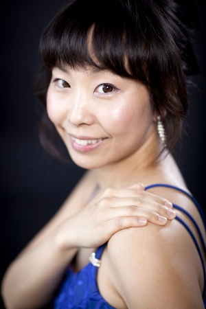 Beautiful asian woman close up portrait in studio photo