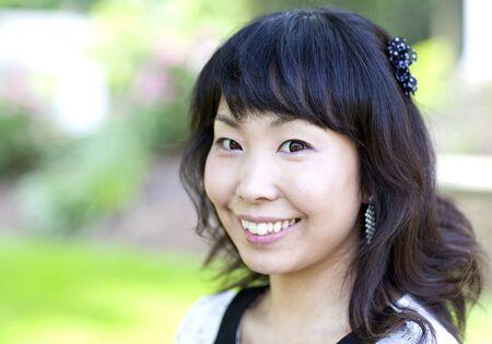 Beautiful asian woman close up portrait photo
