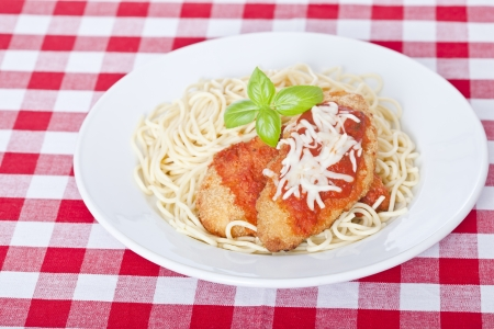 Chicken parmigiana on a white plate with spaghetti 免版税图像 - 15803170