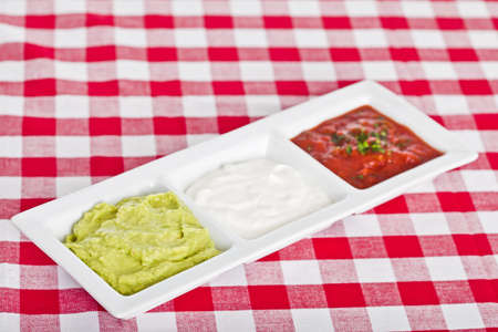 Three Mexican dips in the colors of the national flag