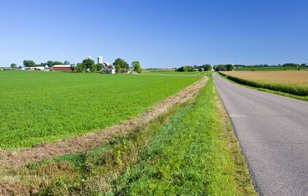 Midwest American farmland with long road and fields Stock Photo - 15803126