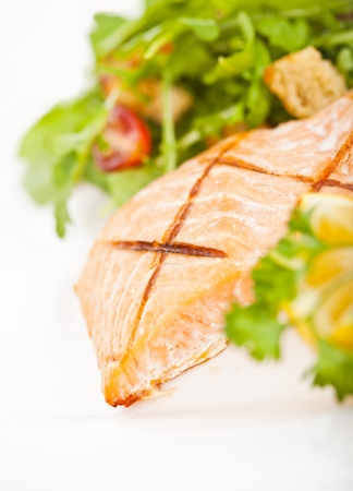 seared: Fresh cooked salmon fillet with arugula salad