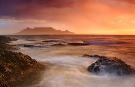 Table Mountain in a thunderstorm Stock Photo