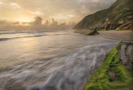 Golden light setting over a bay