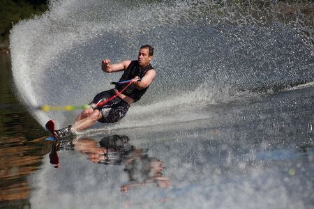 water skiing: Man waterskiing