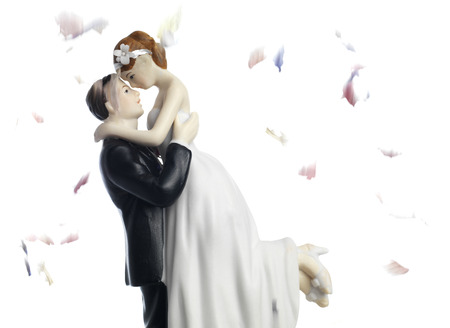 Bride and Groom with confetti photo