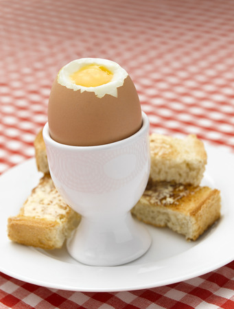 Boiled Egg on Gingham tablecloth photo