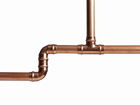 Copper pipe on white with connector