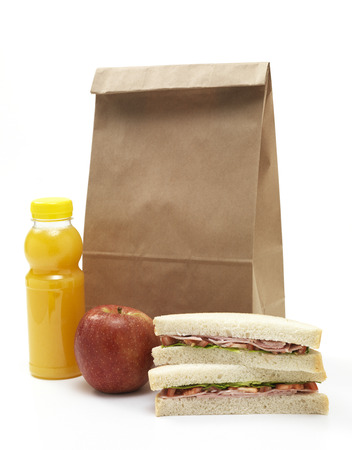 Isolated brown paper lunch bag photo