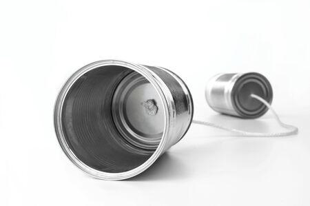 tin can telephone: Tin Can Telephone on white