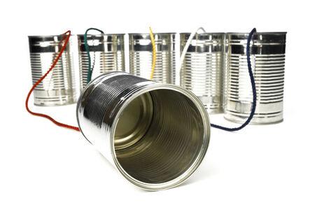 tin can telephone: Tin Can Telephone exchange Stock Photo