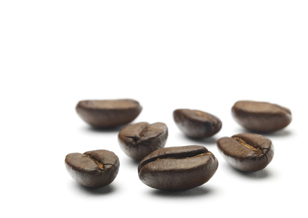 processed grains: Roasted Coffee Beans isolated on a white background Stock Photo