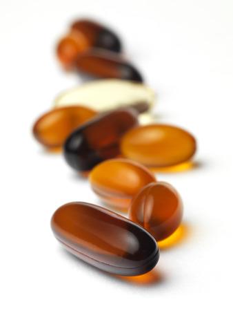 gel capsule: Gel Capsule on white background. Stock Photo