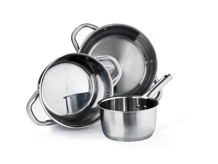 steel pan: Ollas de acero inoxidable Foto de archivo