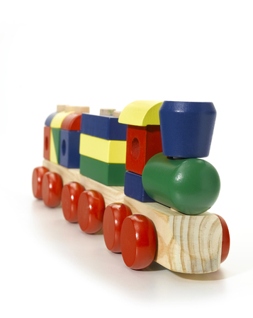 upperdeck view: Wooden toy train Stock Photo