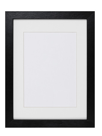 black picture frame: wood Picture Frame isolated Stock Photo