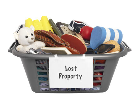 the property: Lost Property bin Stock Photo