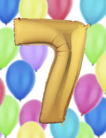 number 7: Number 7 Gold Balloon Stock Photo