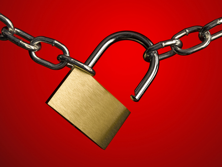 restraining device: Padlock and chain on red