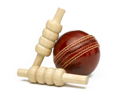 cricket ball: Red Leather Cricket Ball with Bailes