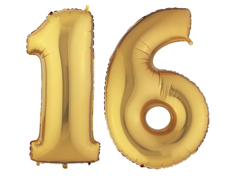 number 16: Isolated Gold Helium Balloon Stock Photo